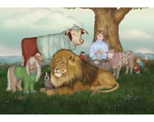 The Hand Knitted Peaceable Kingdom print