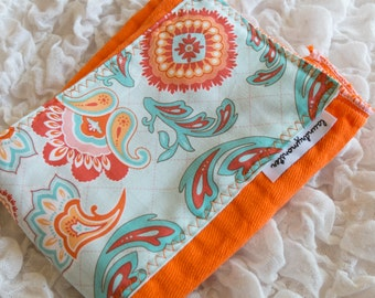 Baby burp cloth - Orange and aqua paisley hand dyed burp cloth