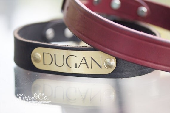 Leather Dog Collar// Personalized Dog Collar//Custom Collar//Name id Collar//Dog Collar Leather