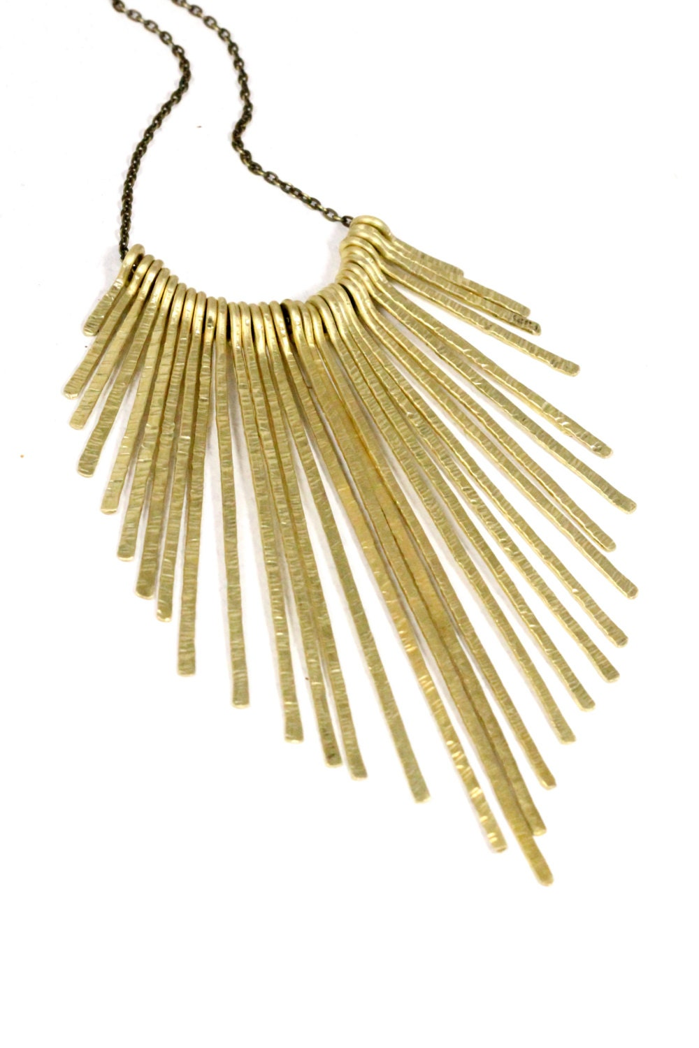 Gold Bib Necklace Hammered Brass Fringe Necklace Spike