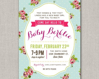 Sip and See Invitation - Shabby Chic
