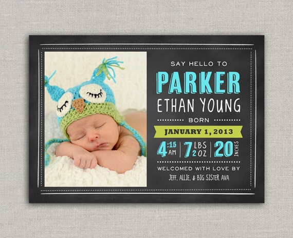 Items similar to Chalkboard Birth Announcement Parker on Etsy – Chalkboard Birth Announcement