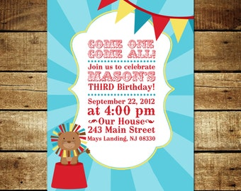 CIRCUS...Custom Printable Birthday Invitations...by KM Thomas Designs