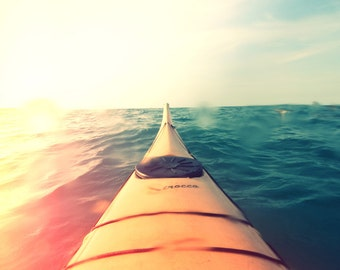 Yellow Kayak in Water Color Photo FREE US SHIPPING