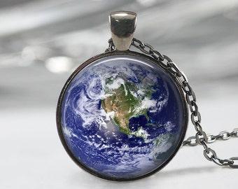 Earth Necklace Solar System Pendant-Eart Necklace solar system jewelry- planet earth jewelry-Galaxy necklace universe Pendant - blue planet