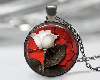 White Rose Necklace  Art Pendant  White Rose Jewelry