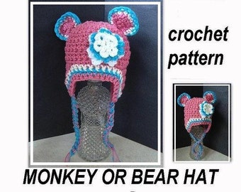 CROCHET PATTERN HAT num 394... Little Monkey or Bear Hat, newborn to age 3, permission to sell your hats
