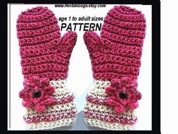Mittens - CROCHET PATTERN - Instant Download -  # 231,  Raspberry Mittens,  handmade patterns   Sizes age 2 to adult . Digital Download