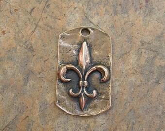 Bronze Fleur De Lis Tag Pendant