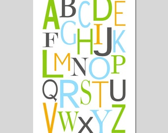 Modern Alphabet Nursery Decor Nursery Art Playroom Decor Kids Wall Art - Large 11x17 Print - CHOOSE YOUR COLORS