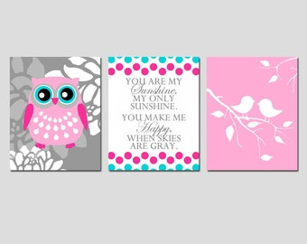 Girl Nursery Art Owl Flower You Are My Sunshine Quote Baby Birds Trio - Set of Three 11x14 Prints - CHOOSE YOUR COLORS