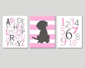 Baby Girl Puppy Nursery Decor Girl Dog Nursery Art Set of 3 Prints - Puppy Dog Nursery Wall Art Alphabet and Numbers - CHOOSE YOUR COLORS