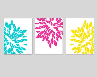 Modern Abstract Painterly Floral Trio - Set of Three Large Scale 8x10 Floral Art Prints - CHOOSE YOUR COLORS