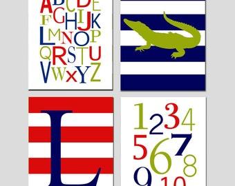 Alligator Nursery Art Quad - Set of Four 8x10 Prints - Alphabet, Numbers, Alligator, Monogram Initial - CHOOSE YOUR COLORS