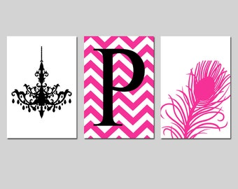 Chandelier, Chevron Initial Monogram, Peacock Feather Trio - Set of Three 11x17 Prints - Kids Wall Art - CHOOSE YOUR COLORS