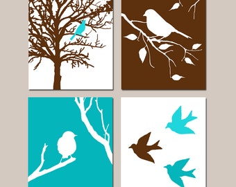 Modern Bird Quad - Set of Four 8x10 Prints - Kids Wall Art For Nursery - CHOOSE YOUR COLORS - Shown in Chocolate Brown, Aqua, and Turquoise