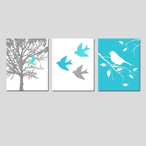 Diy blue and white wall art : Bird nursery art prints trio set of three