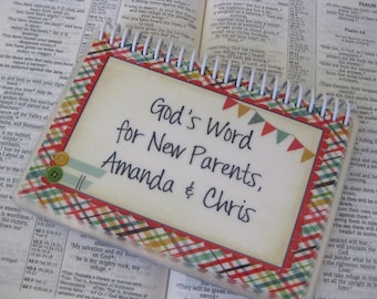 God's Word for New Parents PERSONALIZED, Spiral-Bound, Laminated Bible Verse Cards