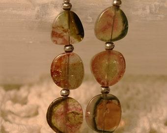Watermelon Tourmaline Treasure Earrings II