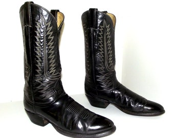 Black Tony Lama Cowboy boots size 9.5 B with white stitching