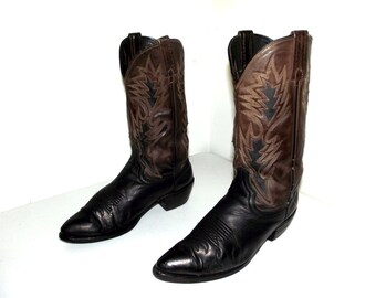 Two tone dark brown and black Dan Post cowboy boots size 9 D or cowgirl size 10.5