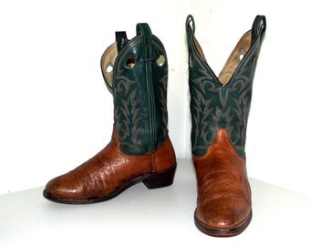Green and Tan Brown two tone brown cowboy boots -  size 10.5 D or womens size 12