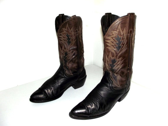 two tone brown and black dan post cowboy boots size 9 d