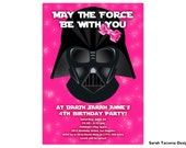 Girl's Star Wars Birthday Party Invitation. Pink Darth Vader Jedi Light Saber. Printable. Customized. Party Invite