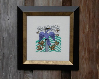 Anhinga Blues -  Shore Bird and sea turtles Cross Stitch Pattern