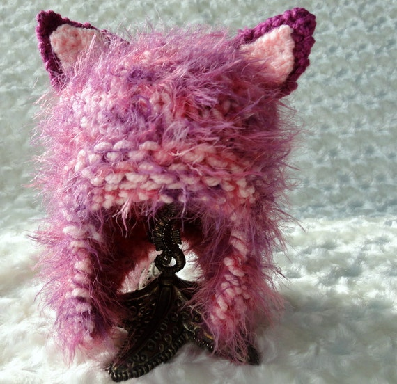 Little Girl Hats Knitted Baby Hats Hat with Cat Ears Toddler Girl Hats  Animal Hats in Light Orchid READY TO SHIP