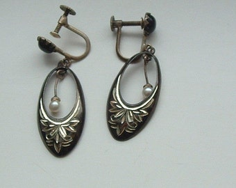 Vintage Sterling Silver Earrings, Chased Hoops with Dangling Pearl