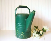 Vintage Green Galvanized Sprinkling or Watering Can Botanical Flower Pot Shabby