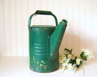 Vintage Green Galvanized Sprinkling or Watering Can Botanical Flower Pot