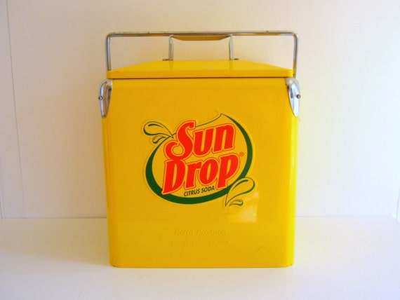 Sun Drop Cooler, Retro, Sale, Vintage Picnic Cooler, Yellow