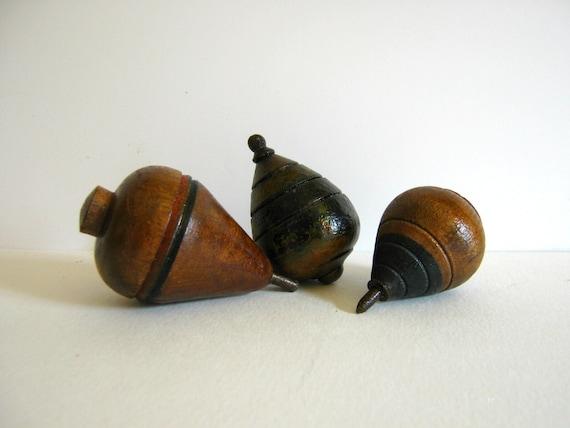 Vintage Spinning Tops Wooden Tops Toy Game Children