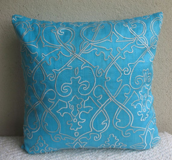 light blue and white  peur silk  pillow cover with white filigree embroidery 18X18