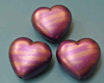 Lot of 3 larger unused vintage 1980s purple/ lilac and brontze plastic heart beads for your jewelry prodject
