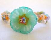 Cuff Bracelet Lampwork Glass Pearls Gold Fill Sterling Silver Spring Jewelry Aqua Blue Flower Bloom