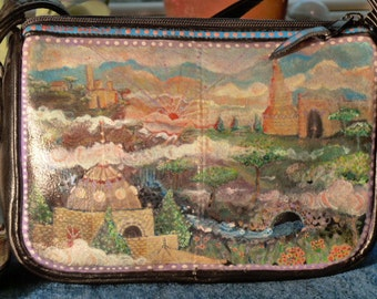 The Land of Tra La La, Hand painted faux leather purse