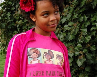 I love Hair Time, pink cotton girl's T-shirt, size XS