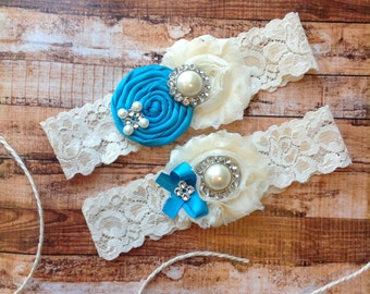 wedding garter / turquoise  / bridal  garter/  lace garter / toss garter /  garter / vintage inspired lace garter/ U PICK COLOR