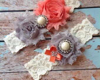 CORAL & GREY  wedding garter set / bridal  garter/  lace garter / toss garter included /  wedding garter / vintage inspired lace garter