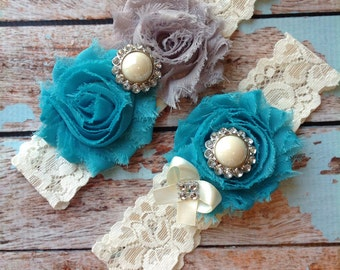 TURQUOISE & GREY  wedding garter set / bridal  garter/  lace garter / toss garter included /  wedding garter / vintage inspired lace garter