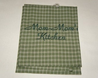 Mom Mom's Kitchen Towel, Waffle Weave or Linen, Embroidered