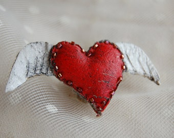Red Heart with wings brooch