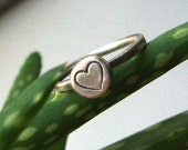 Sterling Silver Simple Stacking Ring With Heart Stamp - Heart Stacking Ring - Silver Heart Ring