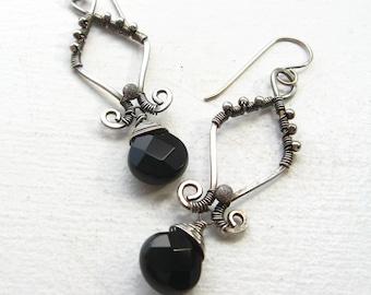Sterling Silver Wire Wrapped Oxidized Elegant Earrings - Onyx
