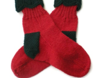 Socks - Hand Knit Red and Green Christmas Socks - Size 7-9