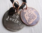 El Corazon Anatomical Heart Inspirational Charm Etched & Stamped Coin Necklace
