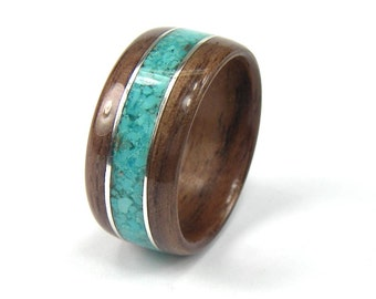 Wood Mens Ring Walnut with Turquoise inlay with Sterling Silver accents
